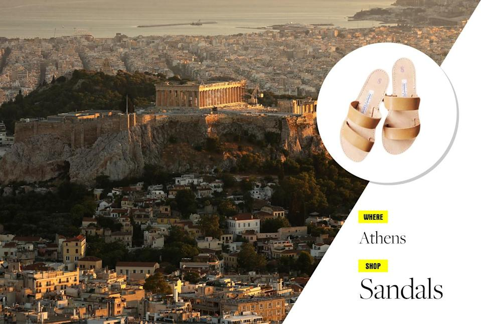"""<p>Start your exploration in Athens, then take one of the many island-hopping tours for some clear-blue Mediterranean sea, seafood, and the strongest ouzo you can handle! Treat yourself and book a room at the luxe <a href=""""http://www.grandebretagne.gr/"""" rel=""""nofollow noopener"""" target=""""_blank"""" data-ylk=""""slk:Hotel Grande Bretagne"""" class=""""link rapid-noclick-resp"""">Hotel Grande Bretagne</a> — there's no better place to escape the 100-degree heat! And you can't come back without a pair of Greek sandals. Head directly to Stavros Melissinos — this brand, established in 1927, is the go-to store for classic Greek sandals, and its customers have included the likes of Jackie Kennedy, Sophia Loren, and a little band called the Beatles. </p><p>Photo: Getty Images<br></p>"""