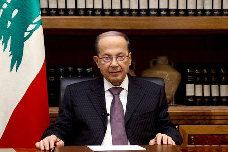 Lebanon's President Michel Aoun is pictured at the Presidential Palace in Baabda