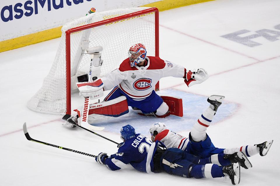 Tampa Bay Lightning forward Blake Coleman scores a goal in the final second of the second period of Game 2.