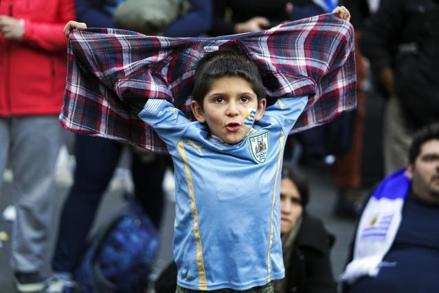 A fan of Uruguay's national soccer team reacts at the end of a television broadcast of the Russia 2018 World Cup match between Saudi Arabia and Uruguay in Montevideo, Uruguay, Wednesday, June 20, 2018. (AP Photo/Matilde Campodonico)