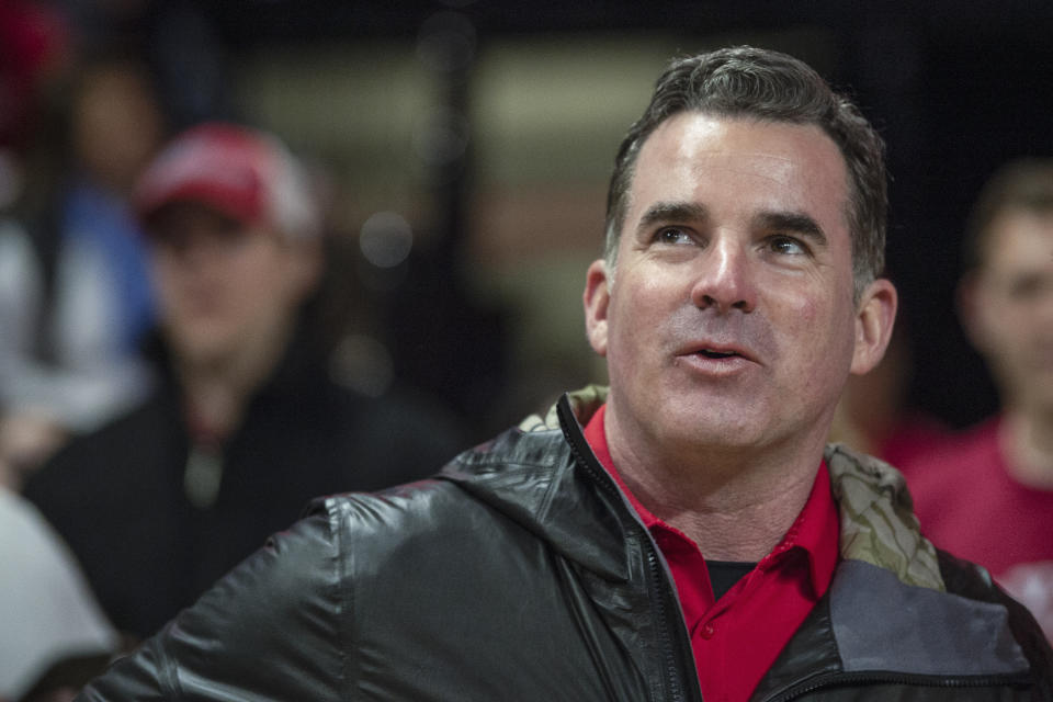 Feb 29, 2020; College Park, Maryland, USA;   Kevin Plank, founder and executive chairman of Under Armour, stands curtsied before the game between the Maryland Terrapins and the Michigan State Spartans at XFINITY Center. Mandatory Credit: Tommy Gilligan-USA TODAY Sports