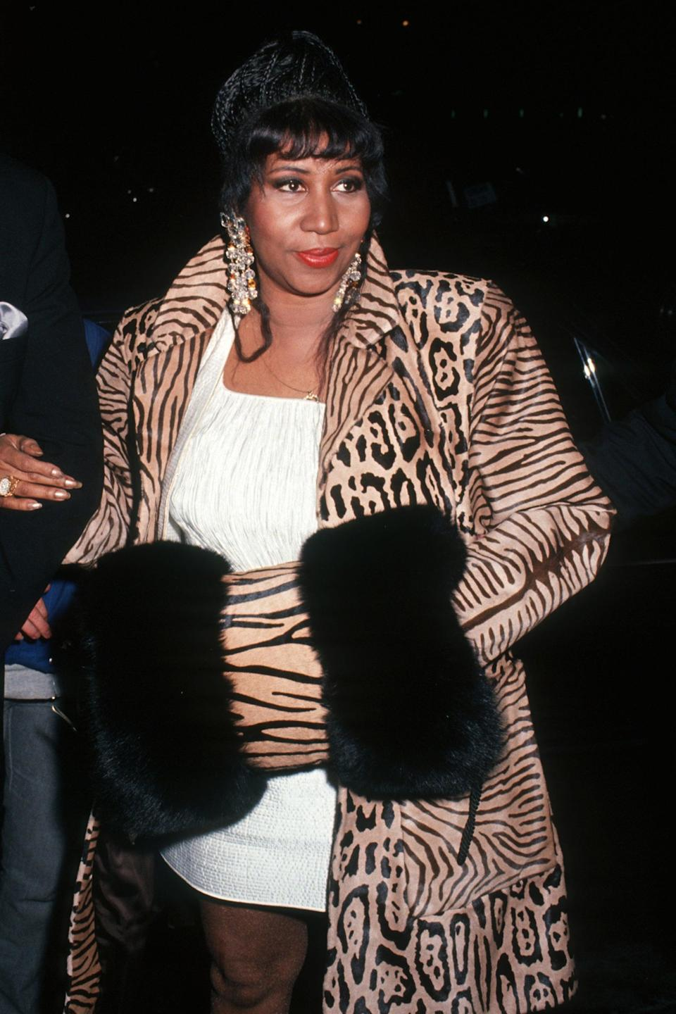 """<h2>Aretha Franklin, 1992</h2><br>No one does leopard print and fur quite like Aretha Franklin.<span class=""""copyright"""">Photo: Ron Galella, Ltd./Ron Galella Collection/Getty Images.</span>"""