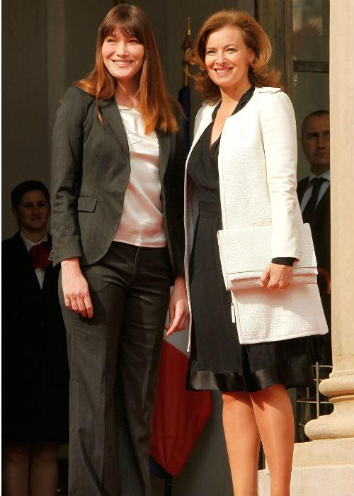 Carla Bruni and Valerie Trierweiler at Elysee Palace on May 15, 2012 in Paris, France.