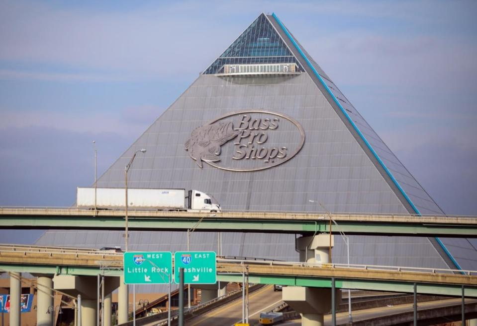 "If you're not able to travel all the way to Egypt to see the great pyramids in Giza, then you might want to plan a trip to Memphis, Tennessee, to see the local <a href=""https://stores.basspro.com/us/tn/memphis/1-bass-pro-dr.html"" rel=""nofollow noopener"" target=""_blank"" data-ylk=""slk:Bass Pro Shops Megastore"" class=""link rapid-noclick-resp"">Bass Pro Shops Megastore</a>. At 321 feet tall, with a 535,000-square-foot interior, it's one of the largest pyramids in the world and features a hotel, an indoor swamp, an aquarium, a bowling alley, and the world's tallest freestanding elevator, which can take you to an observation deck."