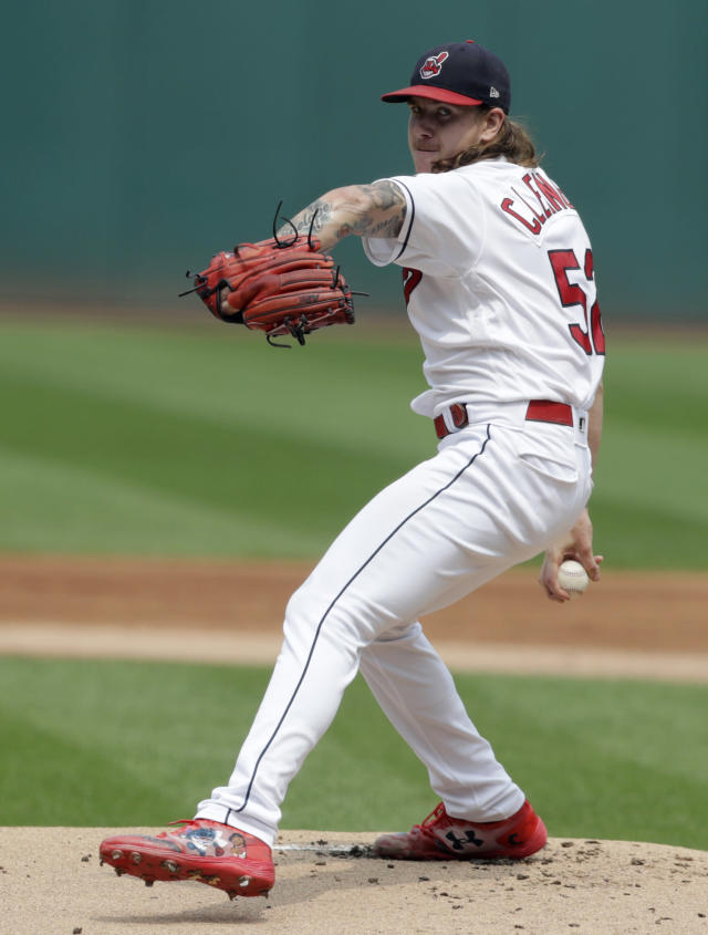 Cleveland Indians starting pitcher Mike Clevinger delivers in the first inning of a baseball game against the Baltimore Orioles, Sunday, Aug. 19, 2018, in Cleveland. (AP Photo/Tony Dejak)