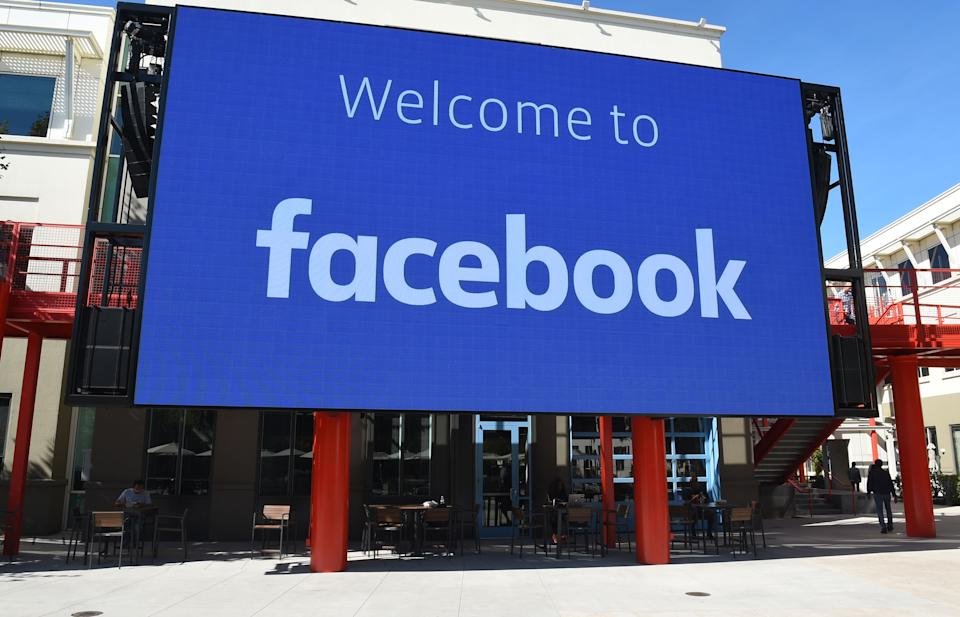 A giant digital sign is seen at Facebook's corporate headquarters campus in Menlo Park, California, on October 23, 2019. (Photo by Josh Edelson / AFP) (Photo by JOSH EDELSON/AFP via Getty Images)