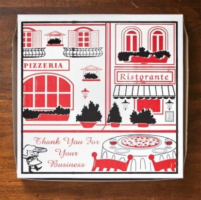 """Freeport Paper's current stock box was designed in 2008 by the company's senior production designer Holly Del Re, based on a painting by the artist Betty Whiteaker. Although it has no official title, the image is affectionately known within the company as """"Saks Fifth Avenue"""" or, more simply, """"Cafe."""" The pizza maker in the bottom left-hand corner has been a trademark of the Paper since the 1970's"""