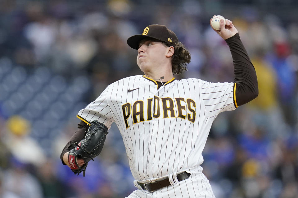 San Diego Padres starting pitcher Ryan Weathers works against a Chicago Cubs batter during the first inning of a baseball game Monday, June 7, 2021, in San Diego. (AP Photo/Gregory Bull)