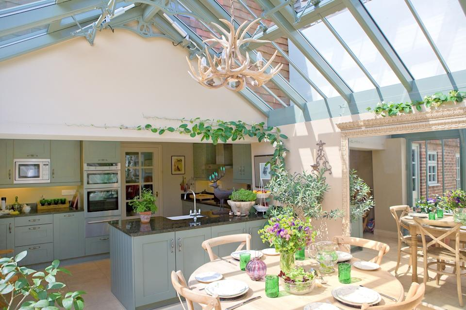 kitchen and dining area in a glazed extension