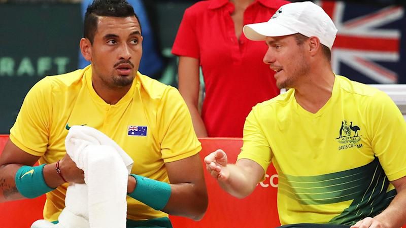 Nick Kyrgios and Lleyton Hewitt in Australia's Davis Cup clash with Belgium in 2017. (Photo by Julian Finney/Getty Images)