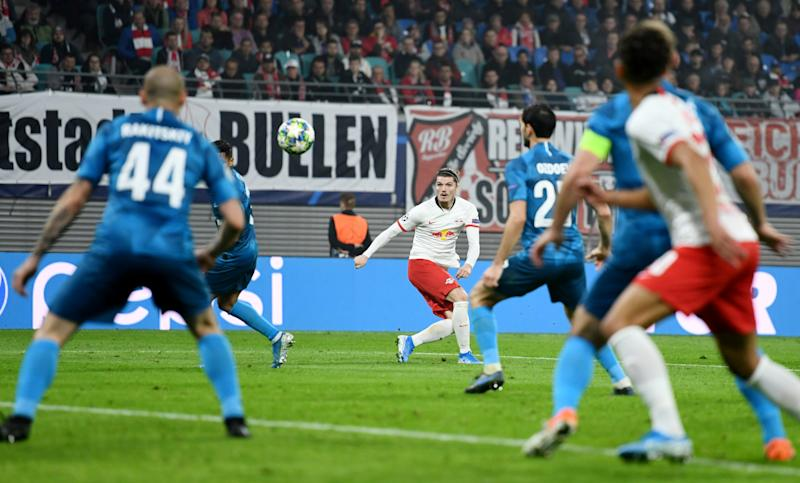 RB Leipzig's Marcel Sabitzer (center) watches his shot slice into the net against Zenit Saint Petersburg in the Champions League on Wednesday. (Reuters)