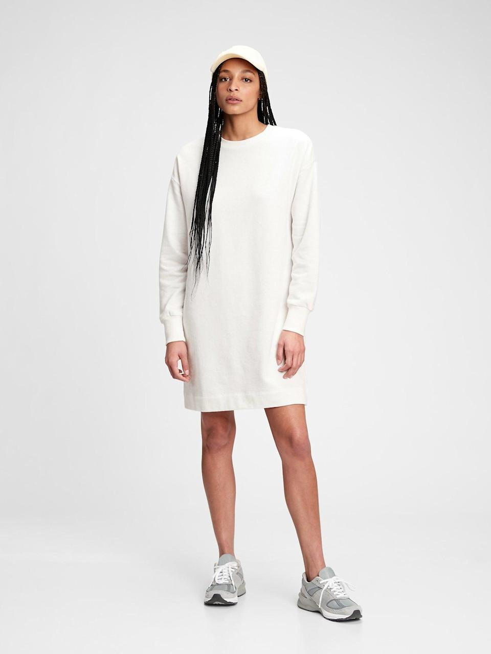 <p>Speaking of comfy cozy, I'm also adding this <span>Gap Fleece Sweatshirt Dress</span> ($48, originally $70) to my shopping bag. It's the perfect work-from-home look.</p>