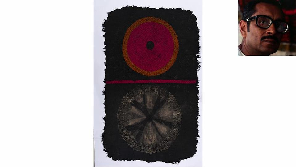 A Namda felted-wool rug by Riten Mozumdar, made with tie-and-dye, resist block print and embroidery. - Credit: Courtesy of Chatterjee, Lal, and Ushmita Sahu