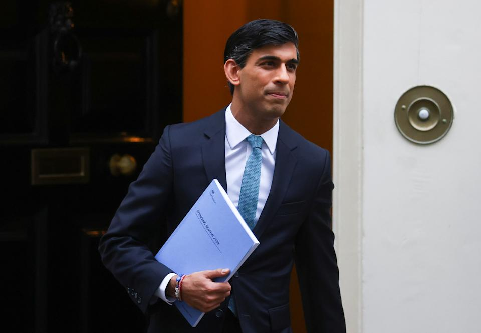 Britain's chancellor of the exchequer Rishi Sunak leaves Downing Street, in London, before announcing the Spending Review in the parliament on 25 November. Photo: Simon Dawson/Reuters