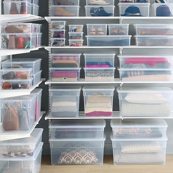 "<p>If, like me, your closet is overflowing, these <a href=""https://www.popsugar.com/buy/Our-Clear-Storage-Boxes-404947?p_name=Our%20Clear%20Storage%20Boxes&retailer=containerstore.com&pid=404947&price=2&evar1=savvy%3Aus&evar9=45680474&evar98=https%3A%2F%2Fwww.popsugar.com%2Fsmart-living%2Fphoto-gallery%2F45680474%2Fimage%2F45680506%2FOur-Clear-Storage-Boxes&list1=new%20years%20resolutions%2Corganization%2Cproductivity%2Chome%20life%2Cmarie%20kondo%2Chome%20shopping&prop13=mobile&pdata=1"" rel=""nofollow"" data-shoppable-link=""1"" target=""_blank"" class=""ga-track"" data-ga-category=""Related"" data-ga-label=""https://www.containerstore.com/s/our-clear-storage-boxes/d?productId=11004743&amp;q=clear%20box"" data-ga-action=""In-Line Links"">Our Clear Storage Boxes</a> ($2-$22) will help get unnecessary items out of your way.</p>"