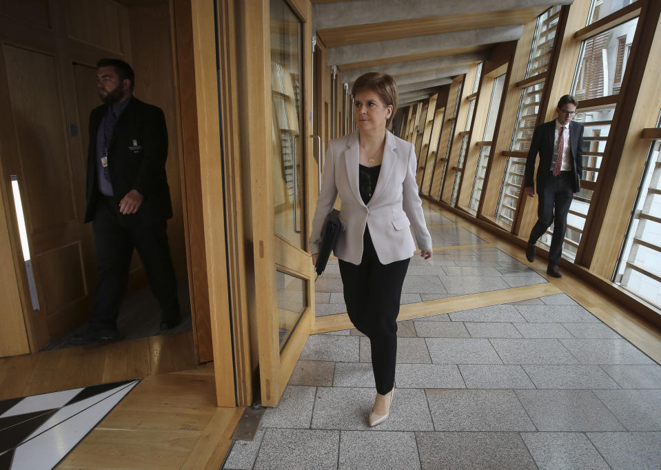 First Minister Nicola Sturgeon arriving for First Minister's Questions at the Scottish Parliament, Edinburgh.