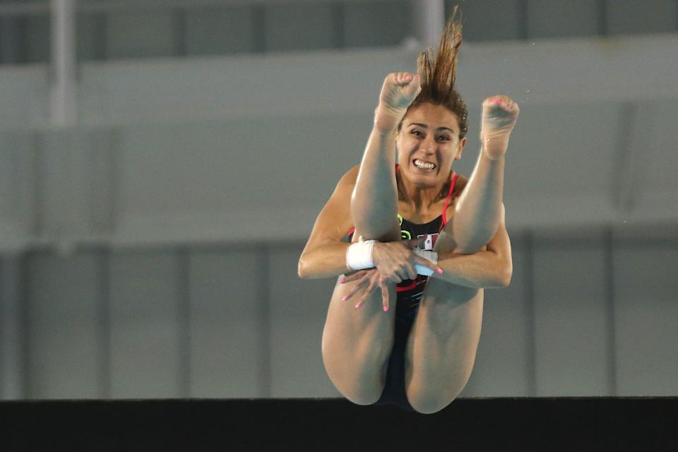 TORONTO, ON- JULY 11  - Paola Espinosa from Mexico wins the   in the women's 10 metre platform diving final at the Pan Am Games  at  CIBC Aquatic Centre/Fieldhouse in Toronto.  July 11, 2015.        (Steve Russell/Toronto Star via Getty Images)