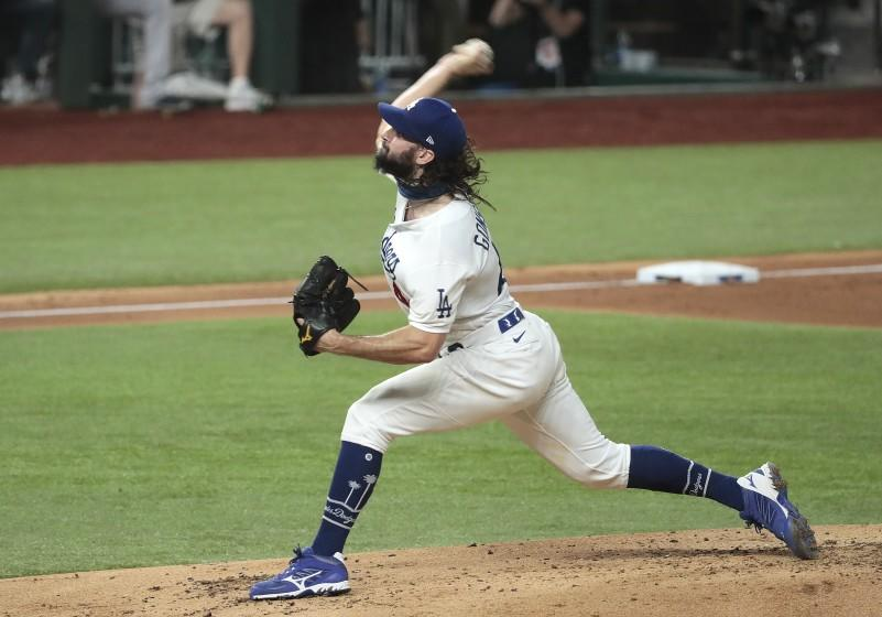 Dodgers starting pitcher Tony Gonsolin delivers during Game 7 of the NLCS.
