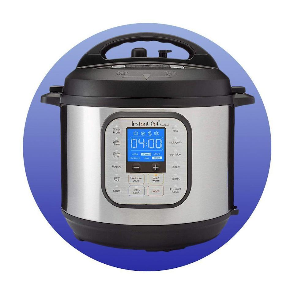 """<p><strong>Instant Pot</strong></p><p>amazon.com</p><p><strong>89.95</strong></p><p><a href=""""https://www.amazon.com/dp/B07RCNHTLS?tag=syn-yahoo-20&ascsubtag=%5Bartid%7C2089.g.376%5Bsrc%7Cyahoo-us"""" rel=""""nofollow noopener"""" target=""""_blank"""" data-ylk=""""slk:Shop Now"""" class=""""link rapid-noclick-resp"""">Shop Now</a></p><p>It might look like an average pressure cooker, but there are several surprising functions they can take advantage of with this appliance (like making yogurt!). Some other roles this appliance can take on? It's also a slow cooker, rice cooker, egg cooker, steamer, and warmer.</p>"""