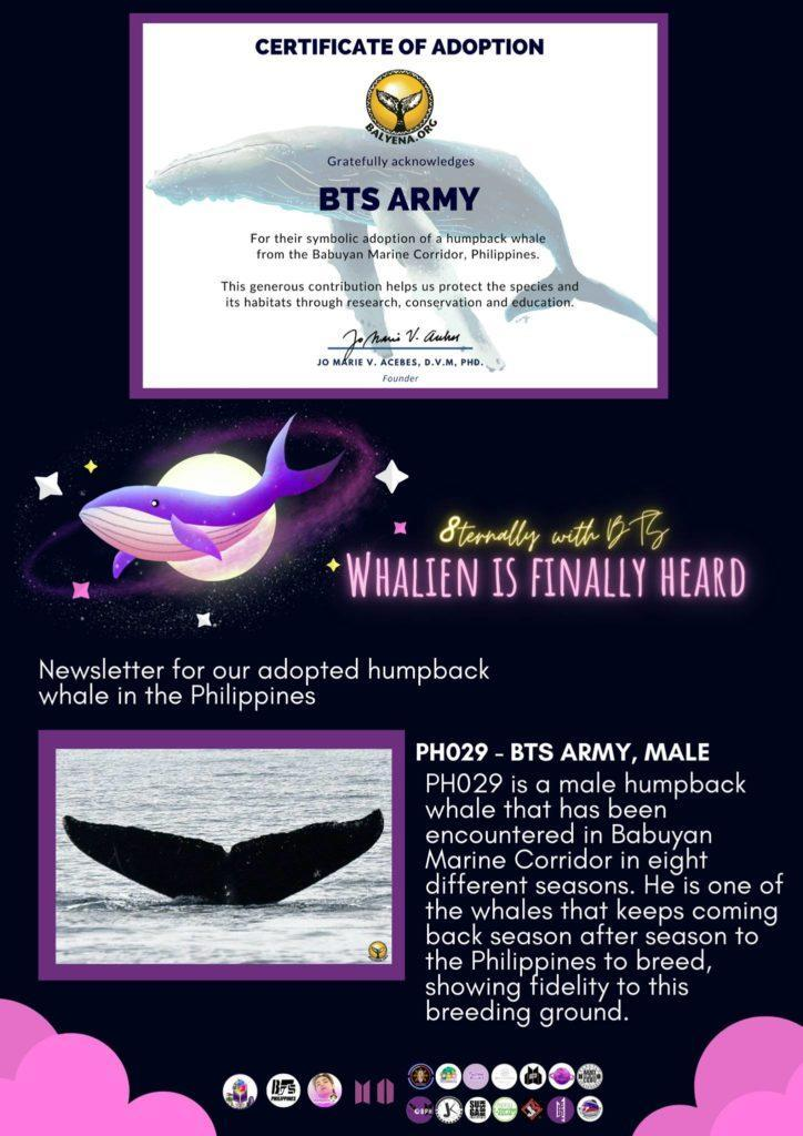This whale goes out to all BTS ARMY fans courtesy of BTS ARMY PH and BTS ARMY Davao