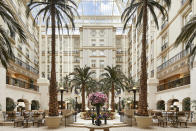 """<p>The Landmark London's Royal Escape Package will enable guests to enjoy a historic day trip to Windsor (where all the magic is set to happen on May 19) and includes an overnight stay at the hotel. Breakfast in the Winter Garden (pictured) is also included in the package (talk about Instagrammable). <br>For further details, take a look at the <a rel=""""nofollow noopener"""" href=""""https://www.landmarklondon.co.uk/"""" target=""""_blank"""" data-ylk=""""slk:website"""" class=""""link rapid-noclick-resp"""">website</a>. <em>[Photo: Landmark London]</em> </p>"""