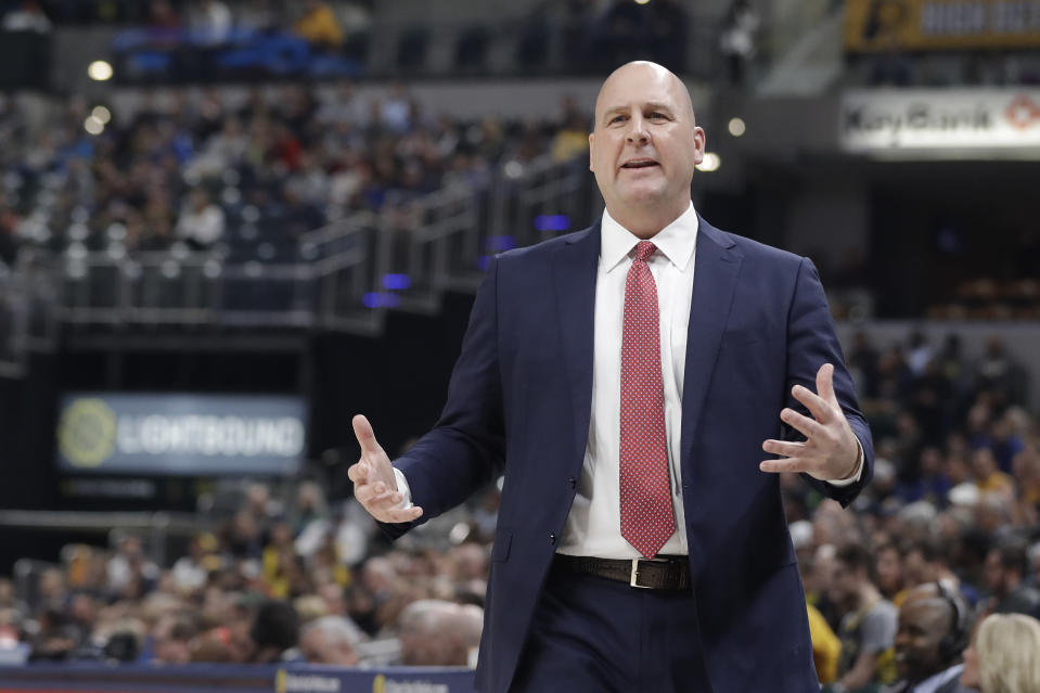 Bulls head coach Jim Boylen questions a call during his debut Tuesday night against the Pacers. (AP)