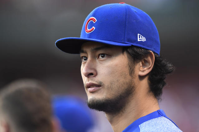 """<a class=""""link rapid-noclick-resp"""" href=""""/mlb/players/9095/"""" data-ylk=""""slk:Yu Darvish"""">Yu Darvish</a> donated $10,000 to ALS research in memory of <a class=""""link rapid-noclick-resp"""" href=""""/mlb/players/9628/"""" data-ylk=""""slk:Stephen Piscotty"""">Stephen Piscotty</a>'s mother. (AP Photo)"""