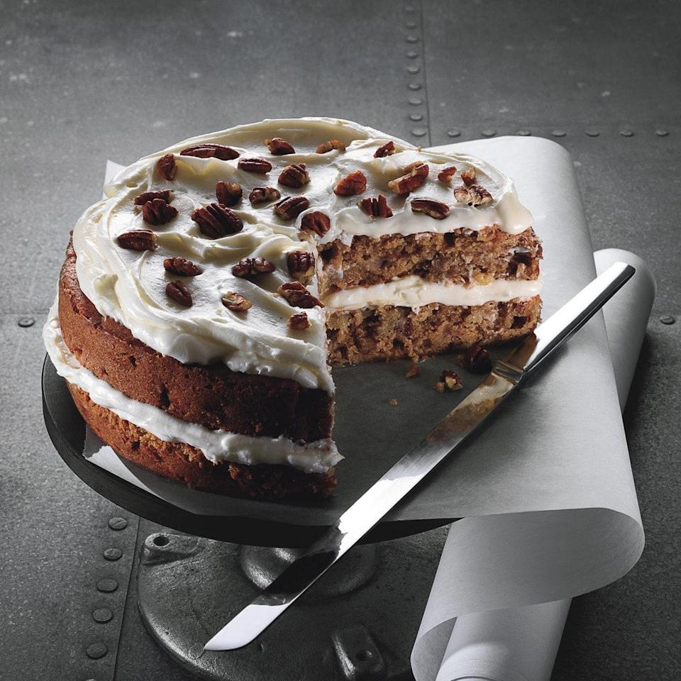 """Why use Fujis in this not-too-sugary cake? The apples provide much of the sweetness. Plus, it's important to choose an apple variety with a sturdy structure so that it won't break down during baking. Fuji apples fit the bill on both counts. <a href=""""https://www.epicurious.com/recipes/food/views/fuji-apple-spice-cake-with-cream-cheese-frosting-355219?mbid=synd_yahoo_rss"""" rel=""""nofollow noopener"""" target=""""_blank"""" data-ylk=""""slk:See recipe."""" class=""""link rapid-noclick-resp"""">See recipe.</a>"""