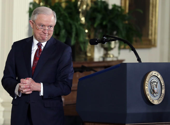 Attorney General Jeff Sessions speaks at the Public Safety Medal of Valor awards ceremony in the East Room of the White House, Feb. 20, 2018. (AP Photo: Evan Vucci/AP)