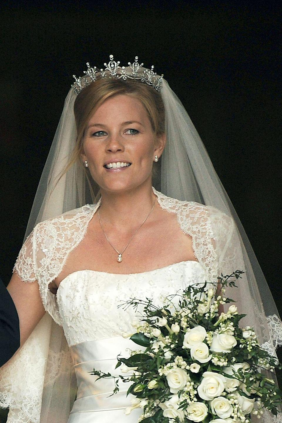 "<p><strong>Wedding date: </strong>May 17, 2008</p><p><strong>Wedding tiara: </strong>Autumn married Peter Phillips, <a href=""https://www.townandcountrymag.com/society/tradition/a13075050/princess-anne-queen-elizabeth-daughter-facts/"" rel=""nofollow noopener"" target=""_blank"" data-ylk=""slk:Princess Anne's son"" class=""link rapid-noclick-resp"">Princess Anne's son</a>, wearing the Festoon tiara, which was <a href=""http://orderofsplendor.blogspot.com/2011/07/tiara-thursday-festoon-tiara.html"" rel=""nofollow noopener"" target=""_blank"" data-ylk=""slk:given to Anne in 1973"" class=""link rapid-noclick-resp"">given to Anne in 1973</a> by the World Wide Shipping Group. Anne wears the delicate diamond tiara often, and lent it to her new daughter-in-law on her wedding day.</p>"
