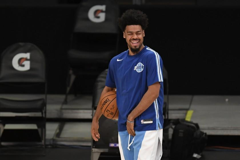 Los Angeles Lakers guard Quinn Cook before an NBA basketball game against the Minnesota Timberwolves in Los Angeles, Sunday, Dec. 27, 2020. (AP Photo/Kyusung Gong)