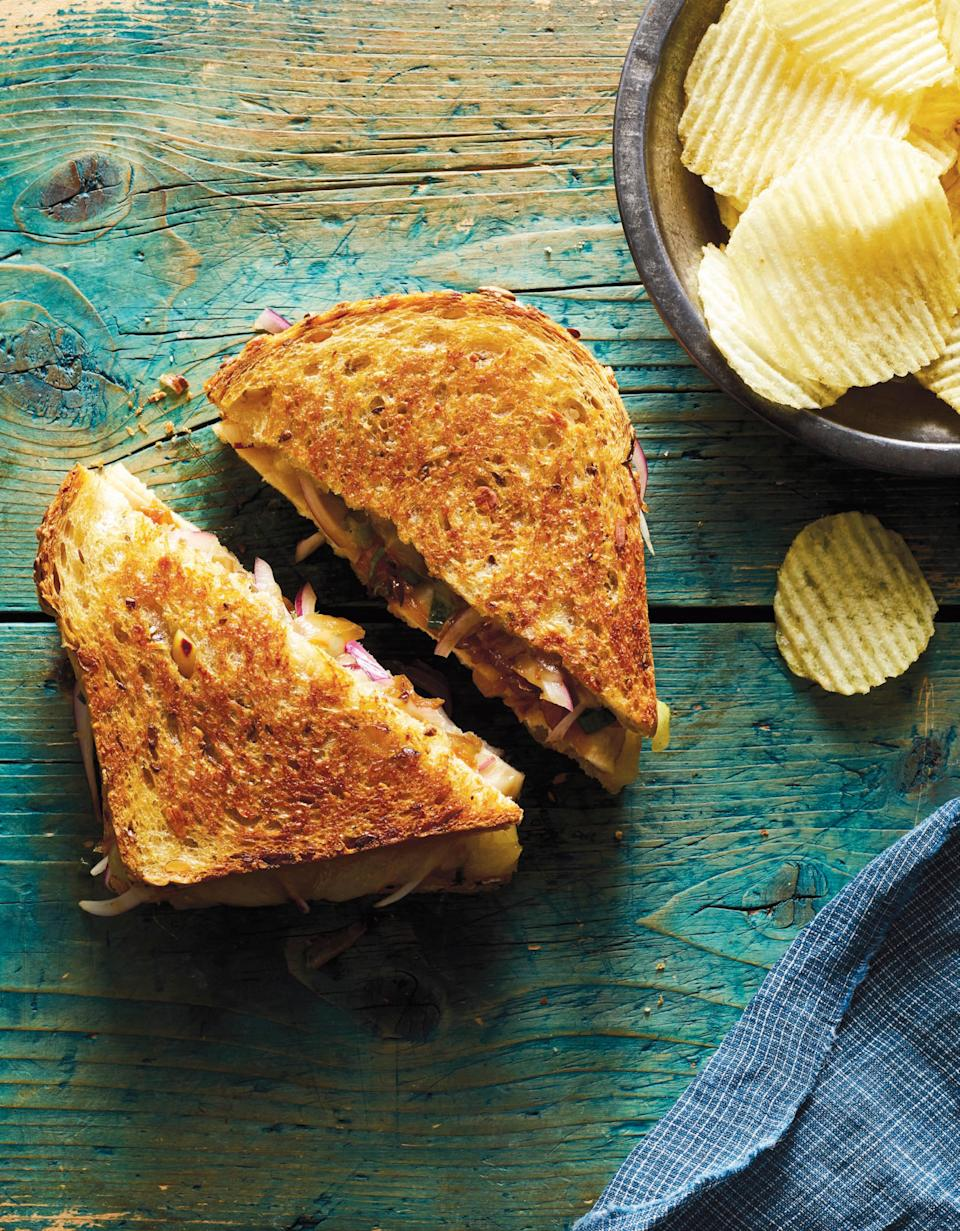 """It's cozy because it's a warm, crispy sandwich stuffed with sweet, soft onions and melted cheese. It's easy because it's all done in a single pan. <a href=""""https://www.epicurious.com/recipes/food/views/cheesy-chicken-melt-onion-relish-tyler-kord?mbid=synd_yahoo_rss"""" rel=""""nofollow noopener"""" target=""""_blank"""" data-ylk=""""slk:See recipe."""" class=""""link rapid-noclick-resp"""">See recipe.</a>"""