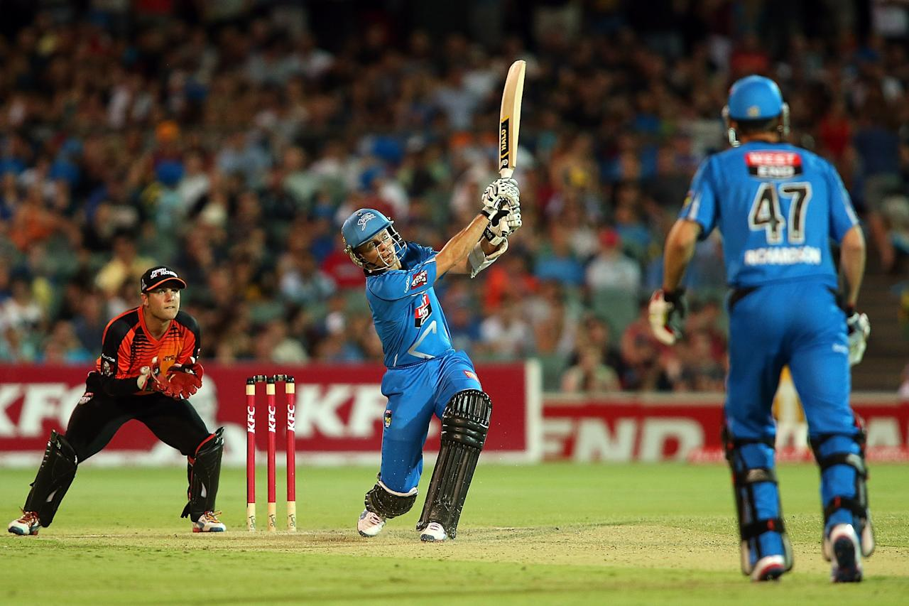 ADELAIDE, AUSTRALIA - JANUARY 10:  Johan Botha of Adelaide bats during the Big Bash League match between the Adelaide Strikers and the Perth Scorchers at Adelaide Oval on January 10, 2013 in Adelaide, Australia.  (Photo by Morne de Klerk/Getty Images)