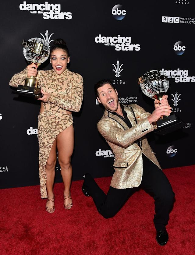 """<p>""""The Human Emoji"""" Laurie Hernandez paired up with Val for season 23. The Olympic gold medalist is the youngest female to win the show, taking home the Mirror Ball at just 16 years old.</p>"""