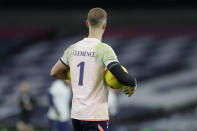 Tottenham's goalkeeper Joe Hart warms up ahead of the English Premier League soccer match between Tottenham Hotspur and Manchester City at Tottenham Hotspur Stadium in London, England, Saturday, Nov. 21, 2020. (AP Photo/Kirsty Wigglesworth, Pool)