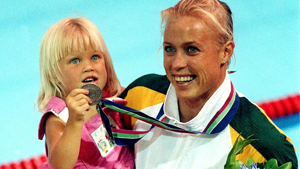 Lisa Curry is seen here with daughter Jaimi at the 1990 Commonwealth Games.