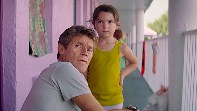 Brooklynn Prince with Willem Dafoe in 'The Florida Project'. (Credit: A24)