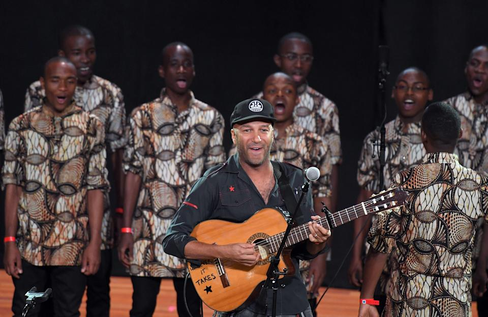 <p>Guitarist Tom Morello performs onstage during Global Citizen: The World On Stage at NYU Skirball Center on September 22, 2016 in New York City.</p> (ANGELA WEISS/AFP via Getty Images)
