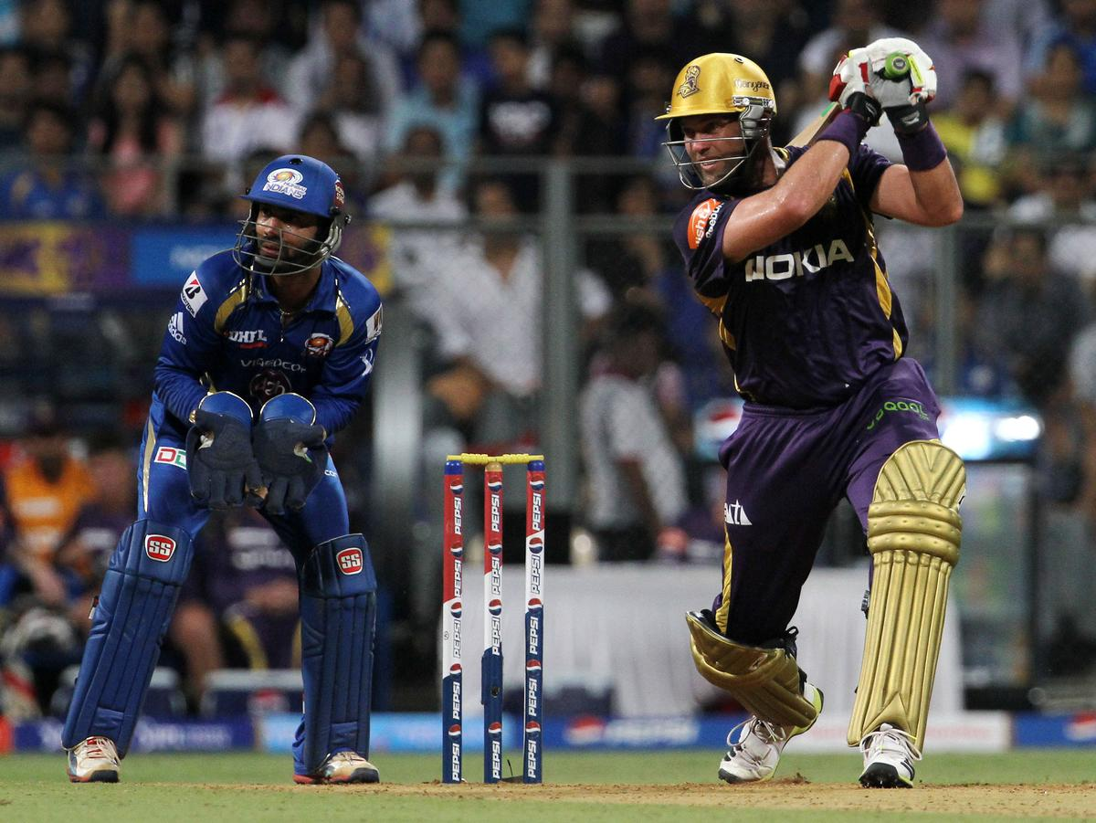 Kolkata Knight Riders player Jacques Kallis plays a shot during match 53 of the Pepsi Indian Premier League ( IPL) 2013  between The Mumbai Indians and the Kolkata Knight Riders held at the Wankhede Stadium in Mumbai on the 7th May 2013. ..Photo by Vipin Pawar-IPL-SPORTZPICS ..Use of this image is subject to the terms and conditions as outlined by the BCCI. These terms can be found by following this link:..https://ec.yimg.com/ec?url=http%3a%2f%2fwww.sportzpics.co.za%2fimage%2fI0000SoRagM2cIEc&t=1503229413&sig=AORTDU0B.Pe4Ews0tcZnUA--~D