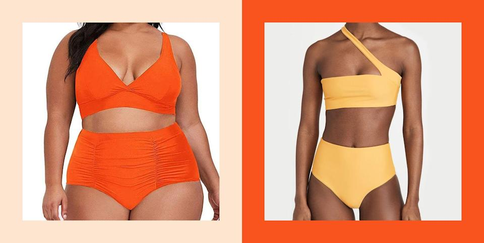 """<p class=""""body-dropcap"""">Fact: Shopping for new swimsuits kind of... sucks. First of all, no one wants to waste their time running to the store and weeding through racks of bikinis and <a href=""""https://www.cosmopolitan.com/style-beauty/fashion/advice/g3928/sexy-one-piece-swimsuits/"""" rel=""""nofollow noopener"""" target=""""_blank"""" data-ylk=""""slk:one-pieces"""" class=""""link rapid-noclick-resp"""">one-pieces</a>, only to find a picked-over selection in a very limited array of sizes and colors. And then secondly, there's the whole quality issue. Unforch, you won't actually know how well a suit holds up without trying it out for yourself or reading a trustworthy review. So, how can you avoid all that trouble? (Hint: The answer is by shopping some of the best Amazon swimsuits I've gathered for you, below.) </p><p>I've gone ahead and done the hard work for you by sorting through tons of <a href=""""https://www.cosmopolitan.com/style-beauty/fashion/g26518115/swimsuit-types-styles/"""" rel=""""nofollow noopener"""" target=""""_blank"""" data-ylk=""""slk:bathing suit types"""" class=""""link rapid-noclick-resp"""">bathing suit types</a> from popular Amazon <a href=""""https://www.cosmopolitan.com/style-beauty/fashion/g19566696/new-swimwear-brands/"""" rel=""""nofollow noopener"""" target=""""_blank"""" data-ylk=""""slk:swimwear brands"""" class=""""link rapid-noclick-resp"""">swimwear brands</a> to bring you 12 different options. And yes, they're all available in a wide range of sizes and colors<strong>, </strong>so you can find the perfect one for you! From <a href=""""https://www.cosmopolitan.com/style-beauty/fashion/advice/g3995/sexy-high-waist-swimsuits/"""" rel=""""nofollow noopener"""" target=""""_blank"""" data-ylk=""""slk:high-waist bikinis"""" class=""""link rapid-noclick-resp"""">high-waist bikinis</a> to tankinis and swim dresses, you'll definitely find a style on this list that you'll love enough to order—and trust me (<em>and</em> the hundreds of reviewers) when I say you won't be returning it.</p><p><em>Reviews have been edited and condensed.</em></p>"""