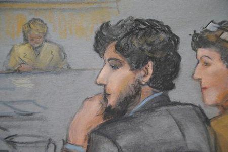 A courtroom sketch shows Boston Marathon bombing suspect Dzhokhar Tsarnaev (C) during the jury selection process in his trial at the federal courthouse in Boston, Massachusetts January 15, 2015. REUTERS/Jane Flavell Collins