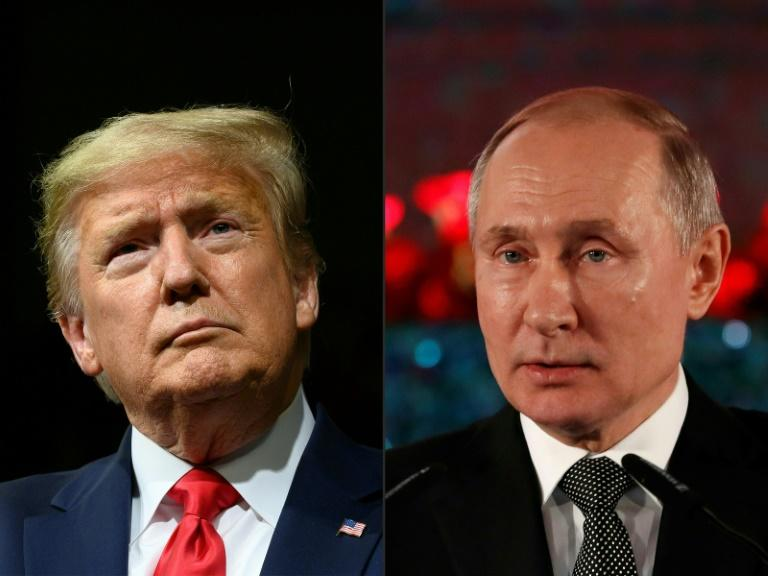 US President Donald Trump (left) has voiced anger at the latest allegations that Russian President Vladimir Putin is supporting his election