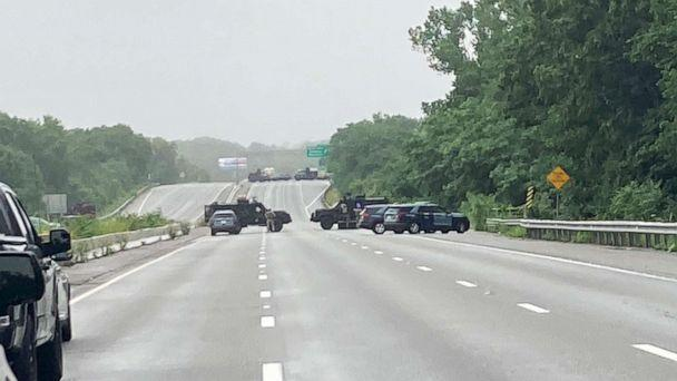 PHOTO: Massachusetts state police respond to group of armed men blocking Interstate 97  claiming to not recognize laws in the area of Wakefield, Mass., July 3, 2021. (Massachusetts State Police via Twitter)