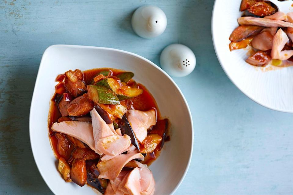 "Turn simply poached salmon into a complete meal with a ratatouille that cooks in the same amount of time as the fish. <a href=""https://www.epicurious.com/recipes/food/views/quick-poached-salmon-with-speedy-ratatouille?mbid=synd_yahoo_rss"" rel=""nofollow noopener"" target=""_blank"" data-ylk=""slk:See recipe."" class=""link rapid-noclick-resp"">See recipe.</a>"