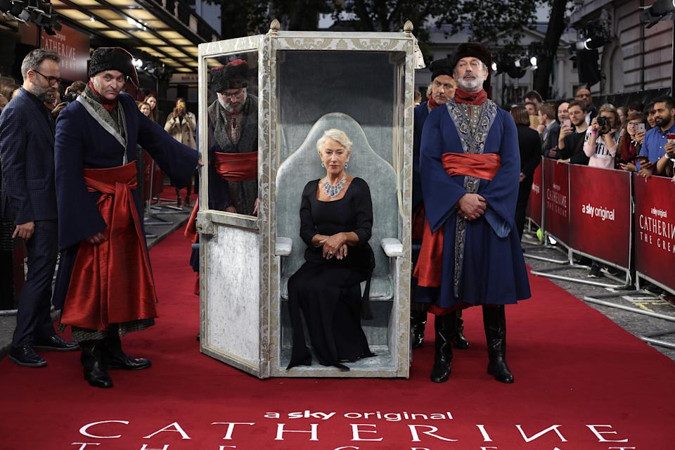"""LONDON, ENGLAND - SEPTEMBER 25: Dame Helen Mirren attends the """"Catherine The Great"""" UK TV Premiere at The Curzon Mayfair on September 25, 2019 in London, England. (Photo by Mike Marsland/WireImage)"""