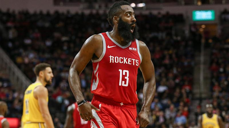 Harden's fifth straight 40-point game helps Rockets top Warriors in OT