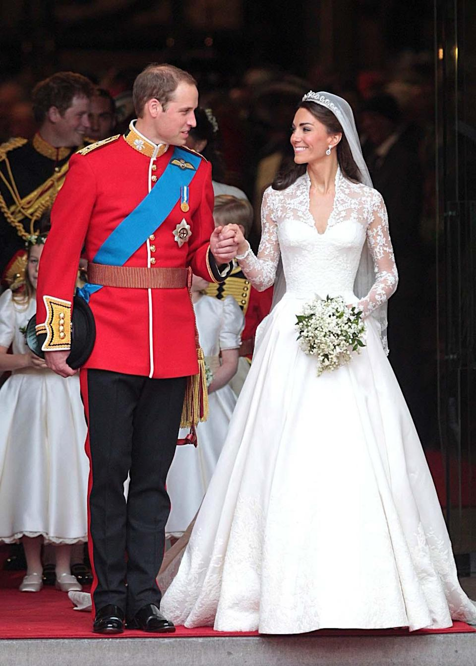 <p>Where it all began: Kate's spectacular wedding dress, designed by Alexander McQueen's Sarah Burton, incorporated lace, floral motifs and an impressive train. It reportedly cost £250,000 and sparked a huge number of copies. </p><p><i>[Photo: PA]</i></p>