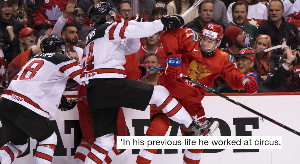 Russia's Klim Kostin had some pretty choice words for Canada's captain, Max Comtois. (Photo by Rich Lam/Getty Images)