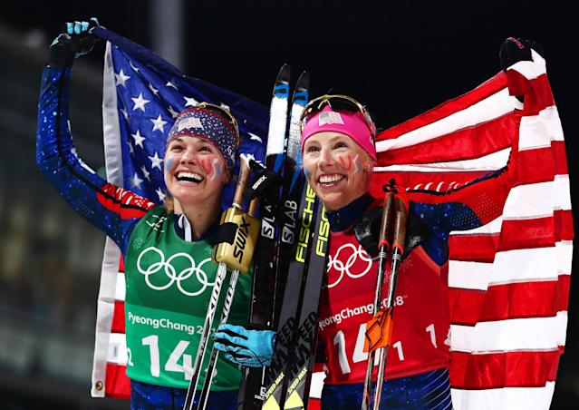 <p>Jessica Diggins of the United States (L) and Kikkan Randall of the United States celebrate as they win gold during the Cross Country Ladies' Team Sprint Free Final at the PyeongChang 2018 Winter Olympic Games on February 21, 2018.<br> (Photo by Lars Baron/Getty Images) </p>