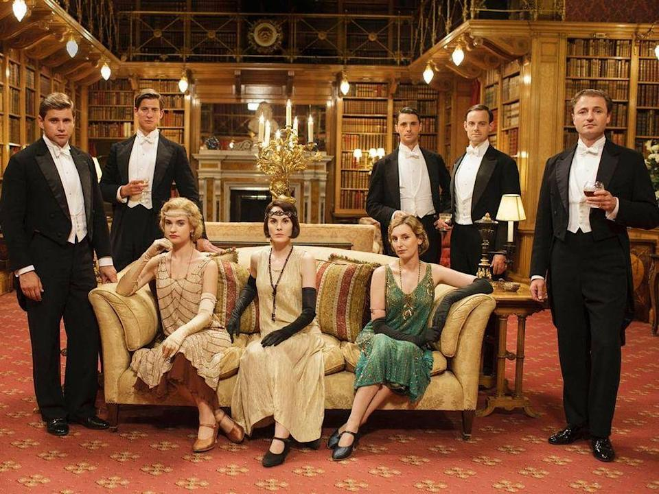 """<p>In her book, <a href=""""http://www.amazon.com/World-Downton-Abbey-Jessica-Fellowes/dp/1250006341?tag=syn-yahoo-20&ascsubtag=%5Bartid%7C10055.g.36148042%5Bsrc%7Cyahoo-us"""" rel=""""nofollow noopener"""" target=""""_blank"""" data-ylk=""""slk:The World of Downton Abbey"""" class=""""link rapid-noclick-resp""""><em>The World of Downton Abbey</em></a>, Jessica Fellowes revealed just how pricey the show was to produce. </p>"""